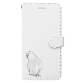 アルビノセキセイインコちゃん【まめるりはことり】 Book-style smartphone case