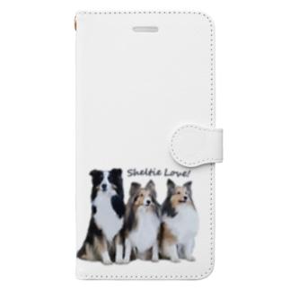 実家のシェルティ達 Book-style smartphone case