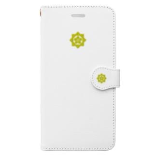kamon 組合い角に桔梗(坂本龍馬)Wh (スマホケース・手帳型) Book-style smartphone case