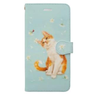 てんとう虫と茶白猫 Book-style smartphone case