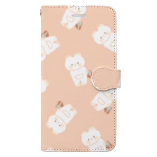 くまねこちゃんパターン Book-style smartphone case