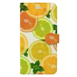 柑橘系のパターン Book-style smartphone case