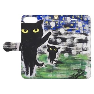 黒猫の夜 Book-style smartphone case