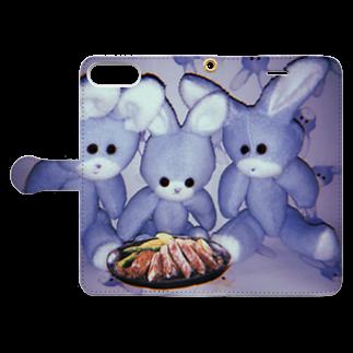 RAITYO TSUMEのステーキ食わせろ Book style smartphone caseを開いた場合(外側)