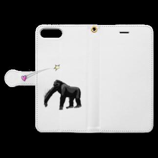 InkFish Designの愛を届けるゴリラ Book-style smartphone caseを開いた場合(外側)