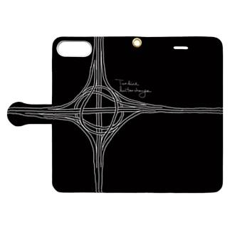 Rakushigeショップのタービン型インターチェンジ(黒・手帳) Book-style smartphone caseを開いた場合(外側)