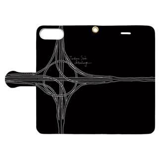 ハーフタービン型インターチェンジ(黒・手帳) Book style smartphone case