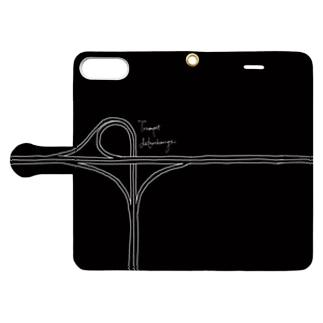 トランペット型インターチェンジ(黒・手帳) Book-style smartphone case