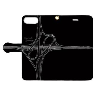対向ループ型インターチェンジ(黒・手帳) Book-style smartphone case