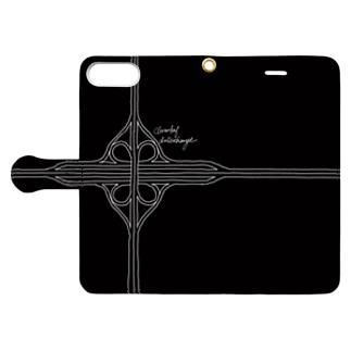 Rakushigeショップの クローバー型インターチェンジ(黒・手帳) Book-style smartphone caseを開いた場合(外側)