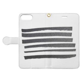 ボーダー 黒 Book-style smartphone case