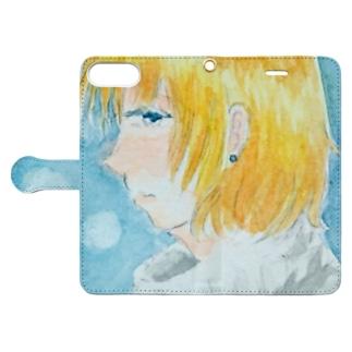 冬の女の子 Book-style smartphone case