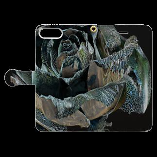 ARTLyのBLACK ROSE ONE - up Book-style smartphone caseを開いた場合(外側)