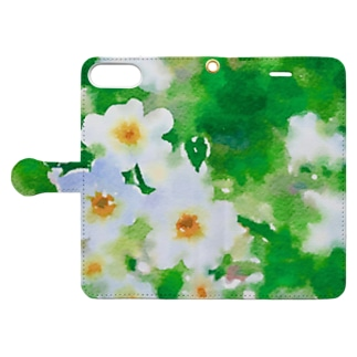 水色小花 Book-style smartphone case