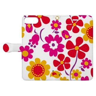 大きな花柄手帳スマホケース Book style smartphone case
