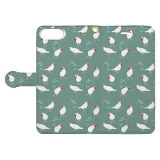 文鳥と青い花 Book style smartphone case