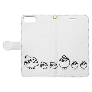 ライチョウ親子スマホカバー Book-style smartphone case