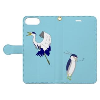 サギーズ(アオサギ、ゴイサギ) Book-style smartphone case