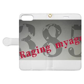 Raging myago385ロゴ Book-style smartphone case