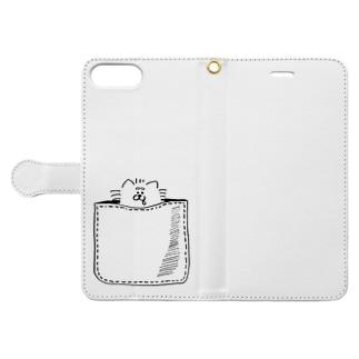 わん夫(ポッケ柄) Book-style smartphone case