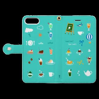 喫茶・角砂糖の喫茶店柄 6plus-6splus-7plus-8plus Book-style smartphone caseを開いた場合(外側)
