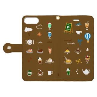 喫茶店柄(ブラウン) 6plus-6splus-7plus-8plus Book-style smartphone case