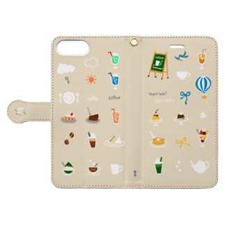 喫茶店柄(クリーム) 6plus-6splus-7plus-8plus  Book-style smartphone case