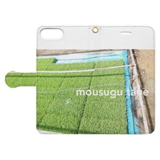 田植えの季節です Book-style smartphone case