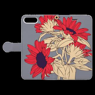 無孔笛のひまわり Book-style smartphone caseを開いた場合(外側)