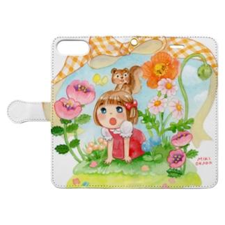 春のお庭 Book-style smartphone case