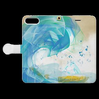 ぷにぷにの富嶽三十六景のアート Book-style smartphone caseを開いた場合(外側)