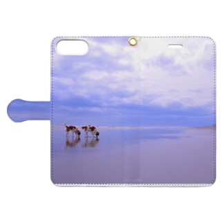 sea with dogs 1  Book-style smartphone case