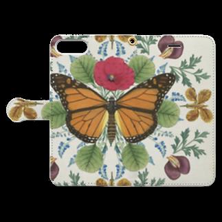 Fukuko55の蝶と花 Book-style smartphone caseを開いた場合(外側)