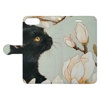 白木蓮と黒猫 Book-style smartphone case