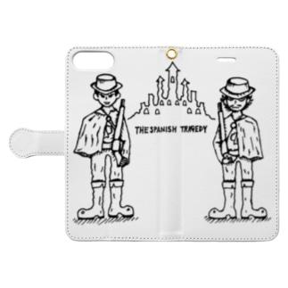二人の兵士 (ブラック) Book-style smartphone case