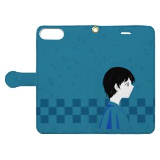"""日々""""彩"""" ―浪漫―【花浅葱】 Book-style smartphone case"""