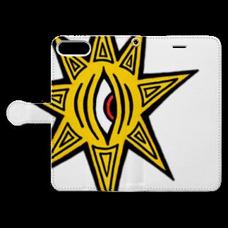 カイカイの出店のきいろちゃーん!グッズ Book-style smartphone caseを開いた場合(外側)