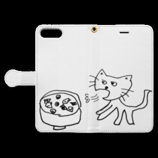 竹下キノの店の猫舌フーフー風 Book-style smartphone caseを開いた場合(外側)