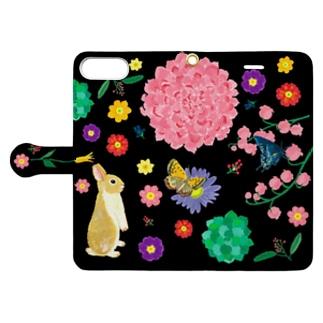yminaminのうさぎのウオレットケース黒 Book-style smartphone caseを開いた場合(外側)