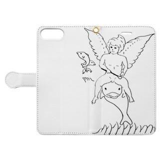 イルカに乗った天使 Book-style smartphone case