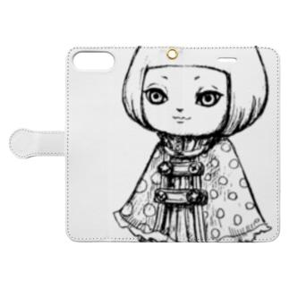 ポンチョを着た女の子 Book-style smartphone case