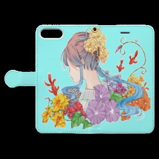 オリジナル雑貨店『ホットドッグ』の夏の浴衣美人 手帳型iPhoneケース Book-style smartphone caseを開いた場合(外側)