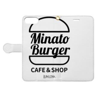 MinatoBurgerグッズ(白/ブラック) Book-style smartphone case