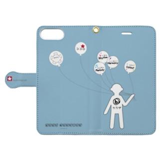 ミナミハチゴーのフーセン君:ブルーグレー678plus Book-style smartphone caseを開いた場合(外側)