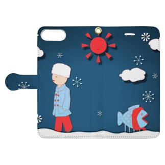 つちのこのわんと寒い日 Book-style smartphone caseを開いた場合(外側)