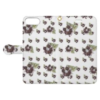 カラフルマルシェのベネチアンガラスの小花柄 パープル Book-style smartphone caseを開いた場合(外側)