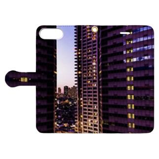高層ビル群、夜景 Book-style smartphone case