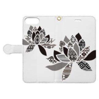 オルテガ柄の蓮の花 Book-style smartphone case