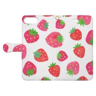 手描きのイチゴ Book-style smartphone case
