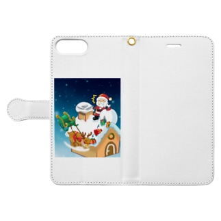 プレゼントを配るサンタクロース Book-style smartphone case